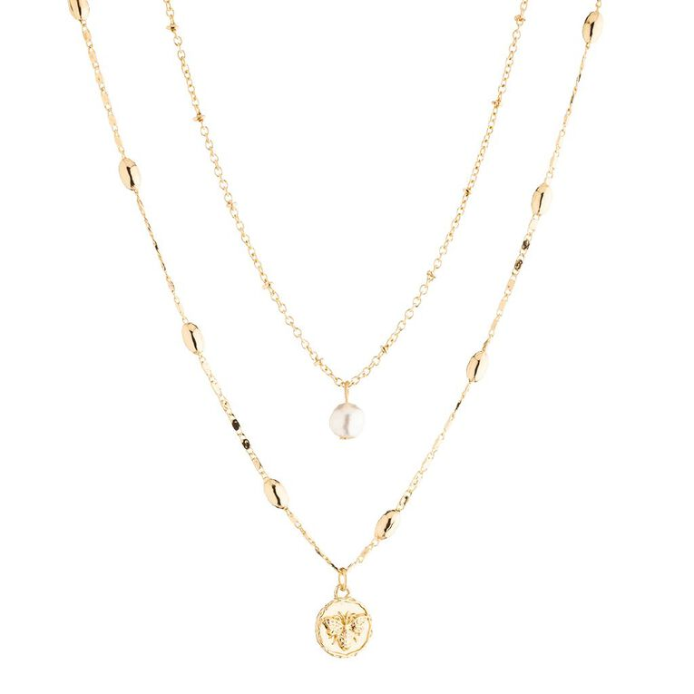 Basics Queen Bee Coin Necklace, Gold, hi-res