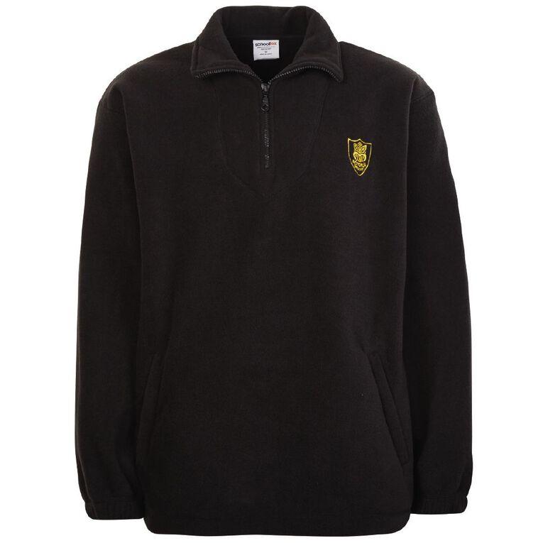 Schooltex Rotorua Polar Fleece Top with Embroidery, Black, hi-res