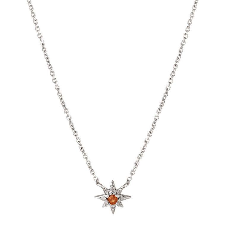 Sterling Silver Diamond Garnet Southern Cross Necklet, , hi-res