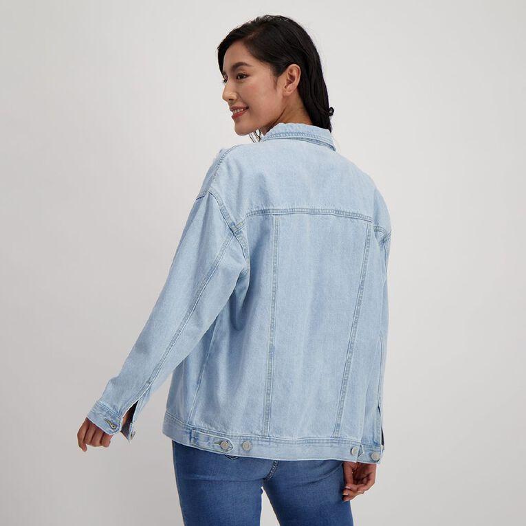 H&H Women's Oversized Boyfriend Denim Jacket, Denim Light, hi-res