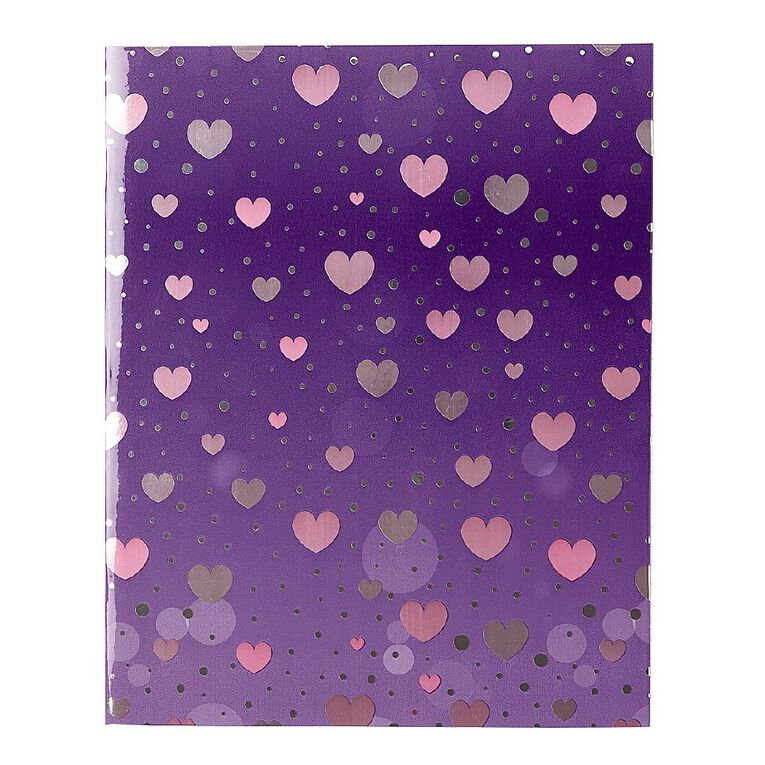 WS Book Cover Sparkle Hearts 45cm x 1m, , hi-res