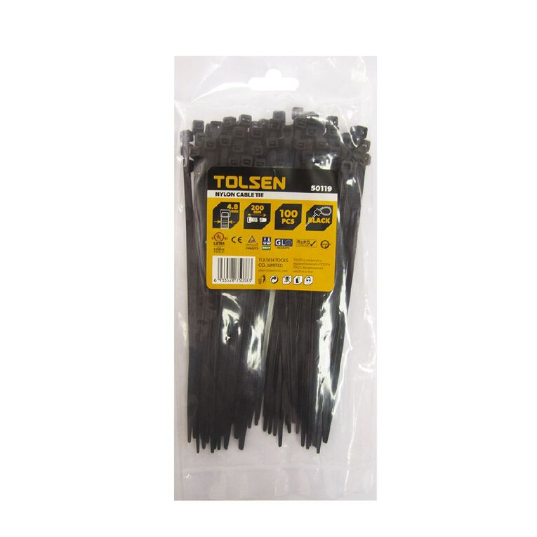 Tolsen Cable Tie 200mm x 4.8mm 100 Pack Black, , hi-res