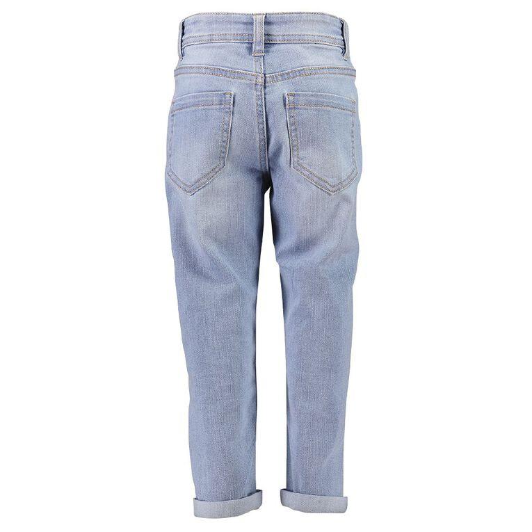 Young Original Girls' Distressed BF Jeans, Blue Light, hi-res