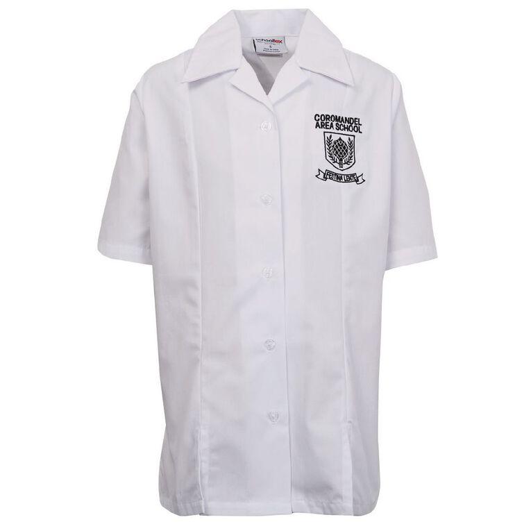 Schooltex Coromandel Area School Short Sleeve Blouse with Transfer, White, hi-res