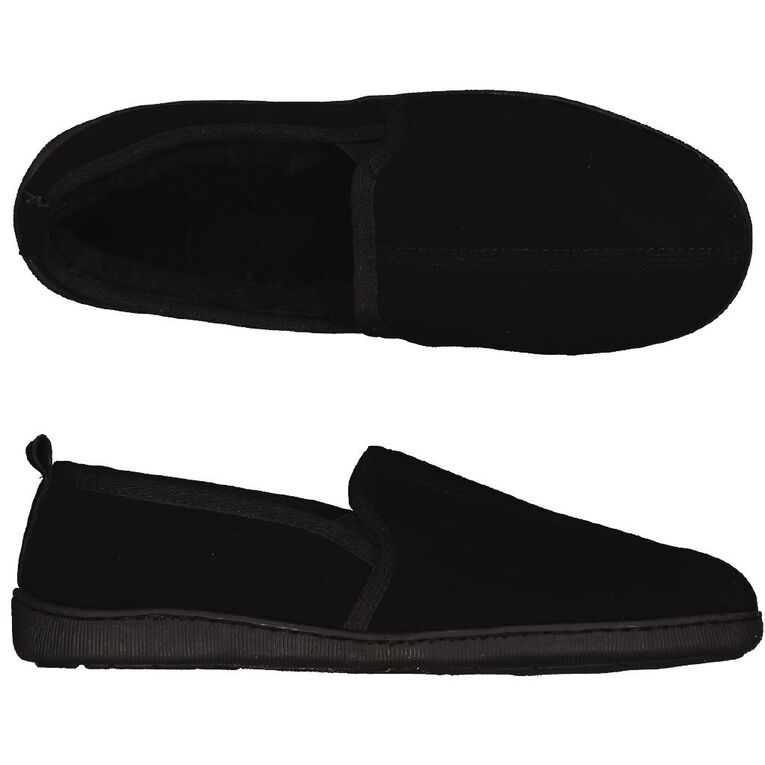 H&H Suede Leather Calm Slippers, Black, hi-res