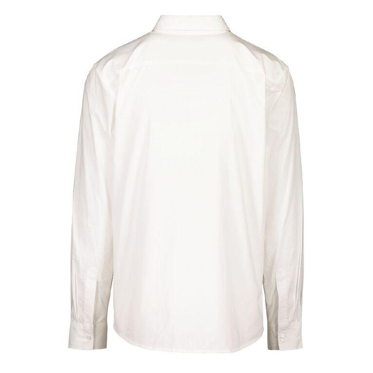 H&H Long Sleeve Plain Cotton Shirt, White, hi-res