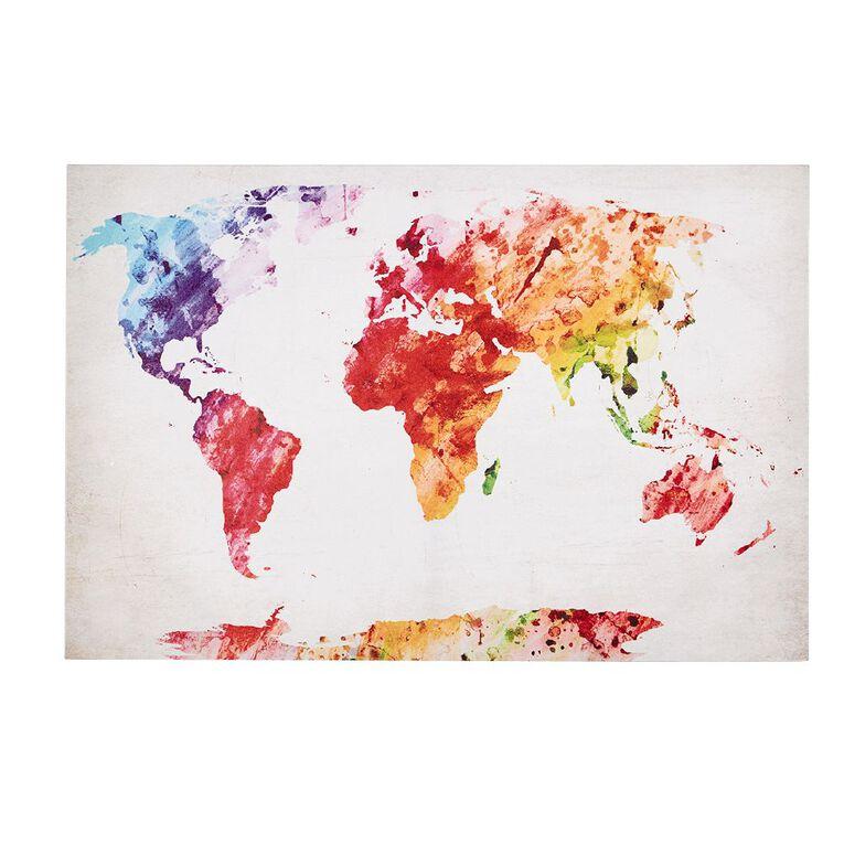 Living & Co World Map Canvas 60 x 90 x 1.8cm, , hi-res