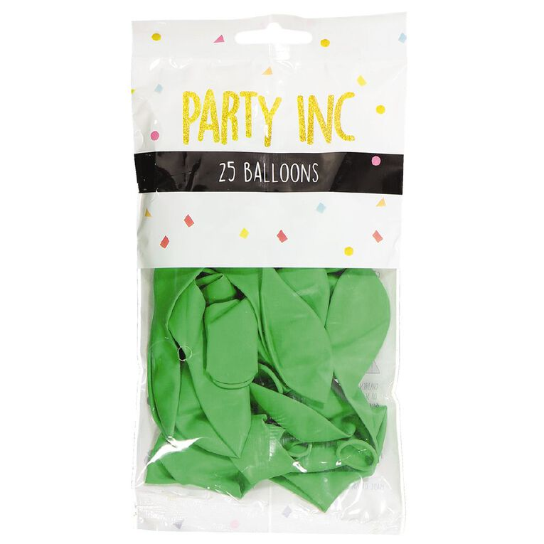 Party Inc Balloons Solid Colour Green 25cm 25 Pack, , hi-res