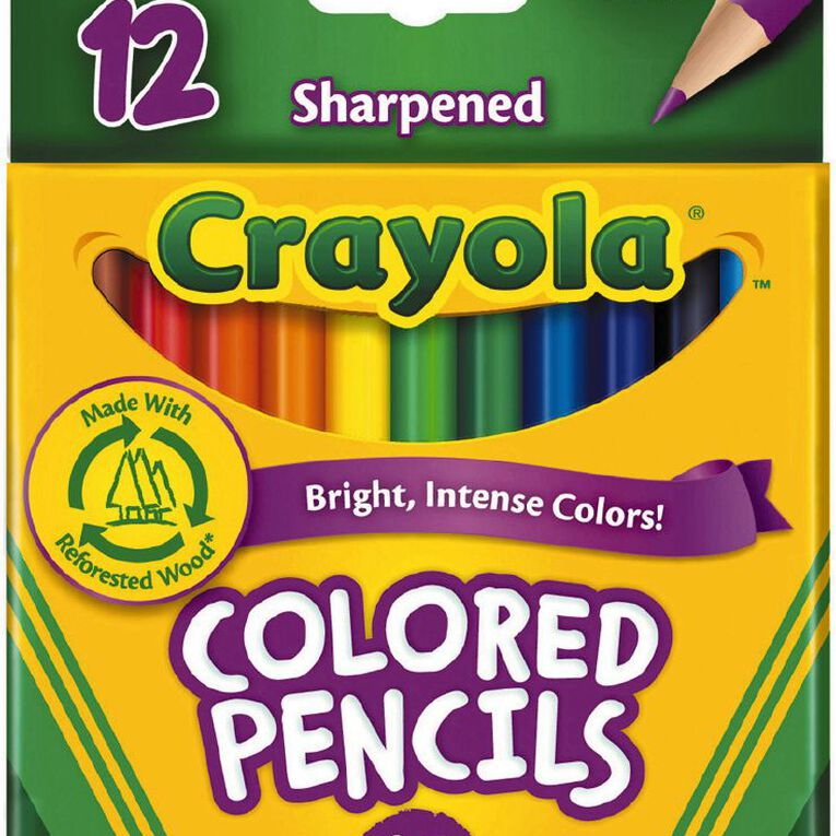 Crayola Coloured Pencils Half Size Multi-Coloured 12 Pack, , hi-res