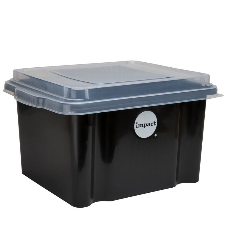 Impact Suspension File Box With Lid Black, , hi-res image number null