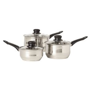 Living & Co Stainless Steel Saucepan Set Silver 3 Piece