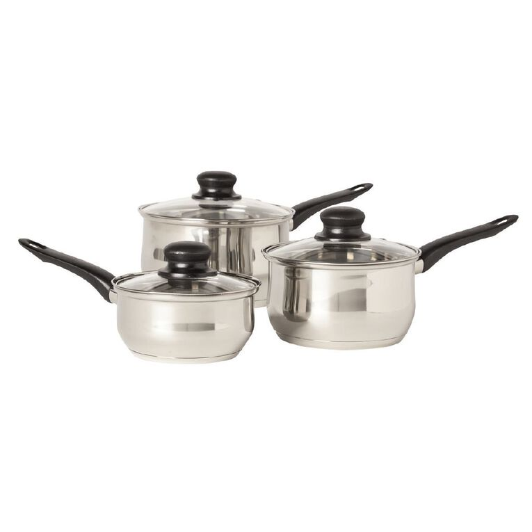 Living & Co Stainless Steel Saucepan Set Silver 3 Piece, , hi-res