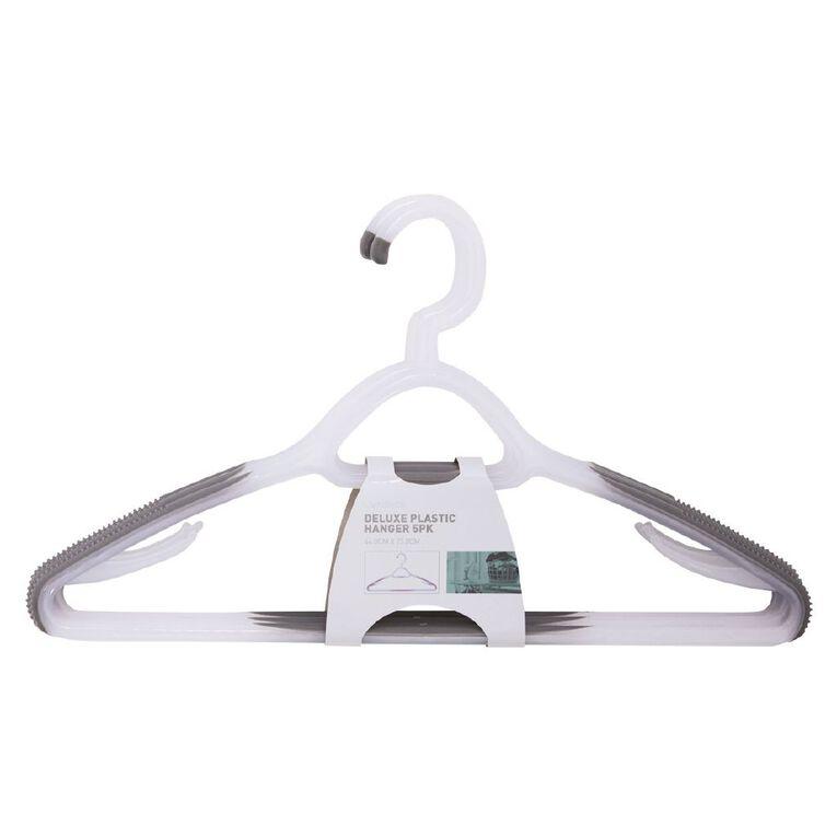 Living & Co Coat Hangers Rubber Grip Plastic White 5 Pack, , hi-res