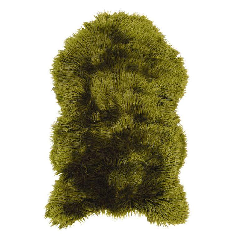 Living & Co Faux Sheepskin Rug Green, , hi-res
