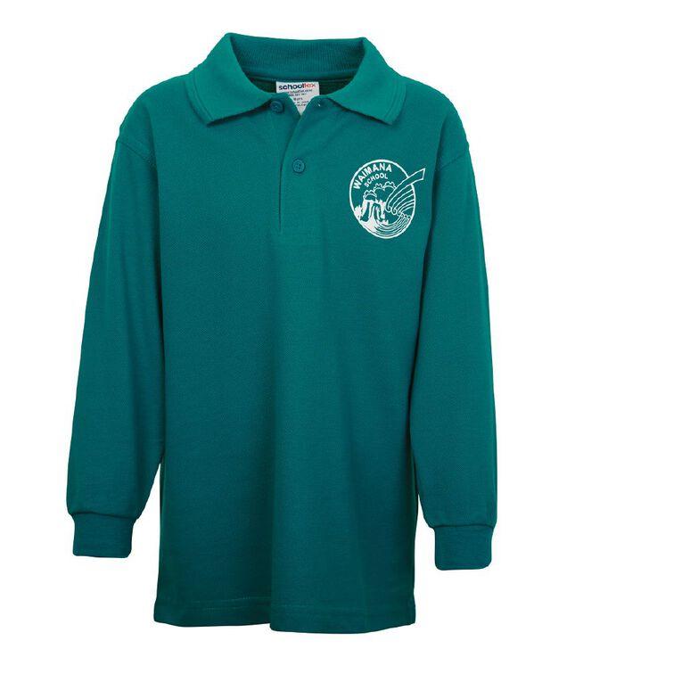 Schooltex Waimana Long Sleeve Polo with Transfer, Jade, hi-res
