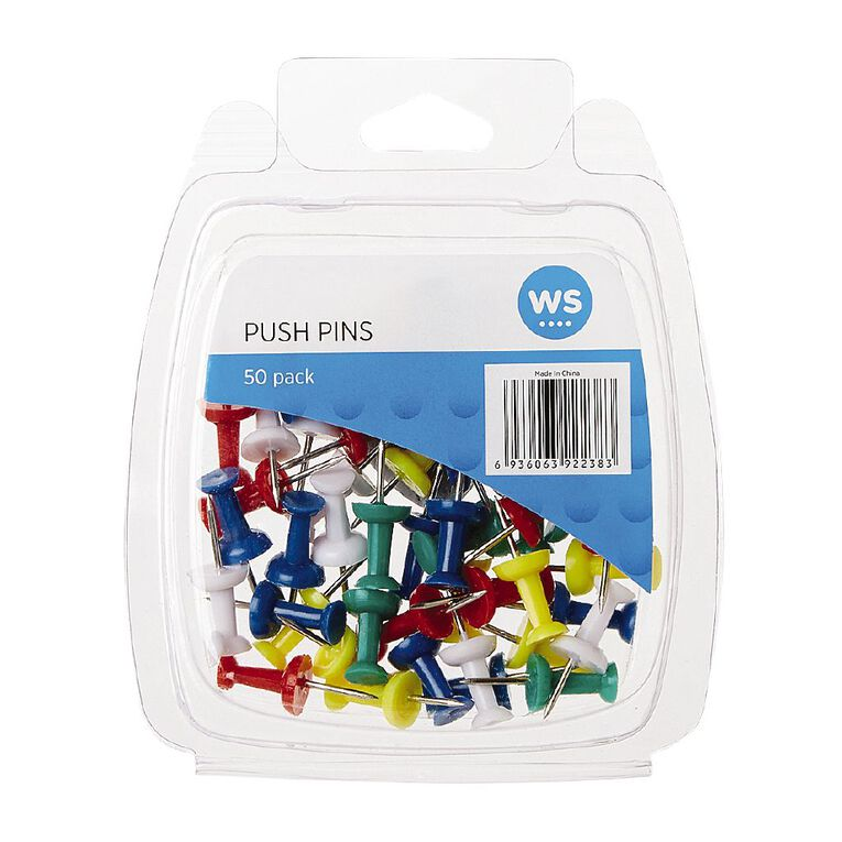WS Push Pins 50 Pack Assorted, , hi-res
