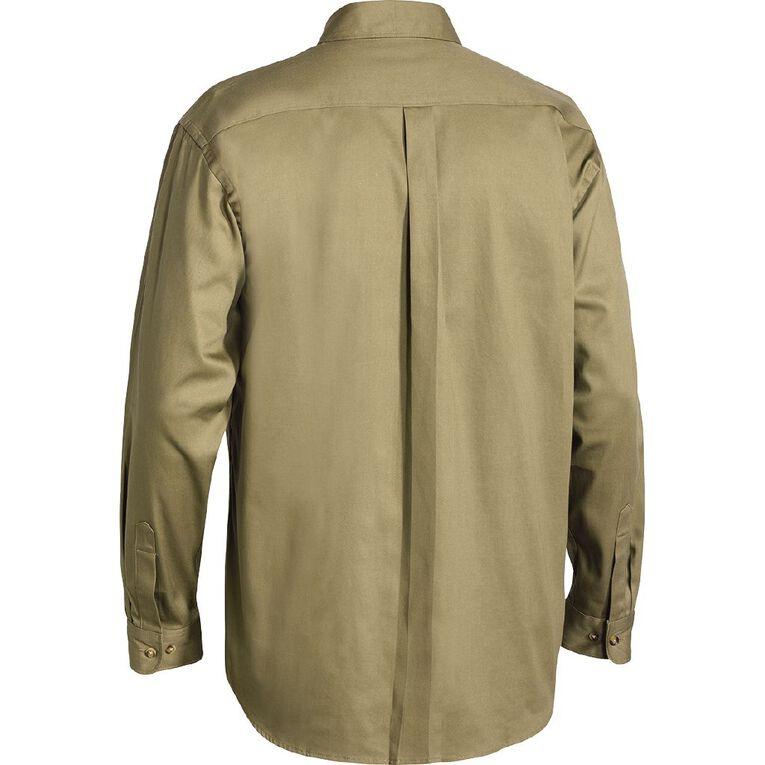 Bisley Workwear Long Sleeve Shirt, Khaki, hi-res