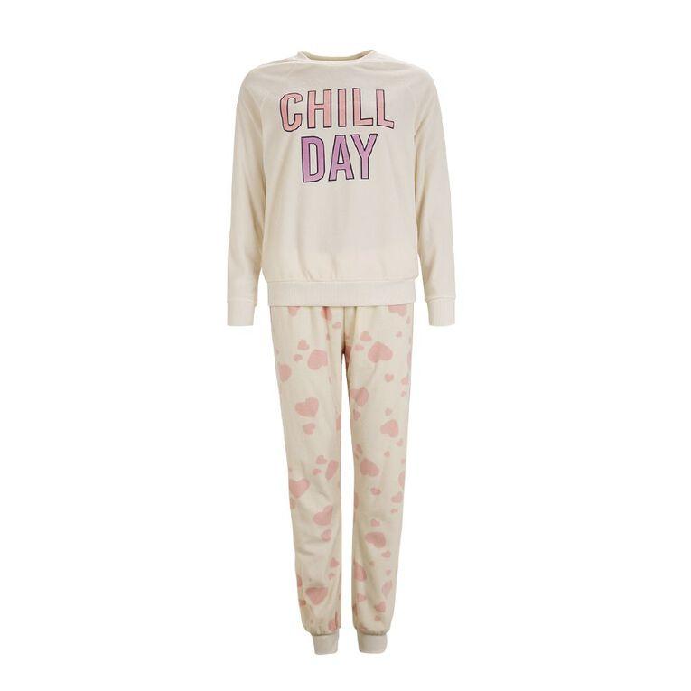 H&H Women's Fleece Pyjamas, Cream, hi-res