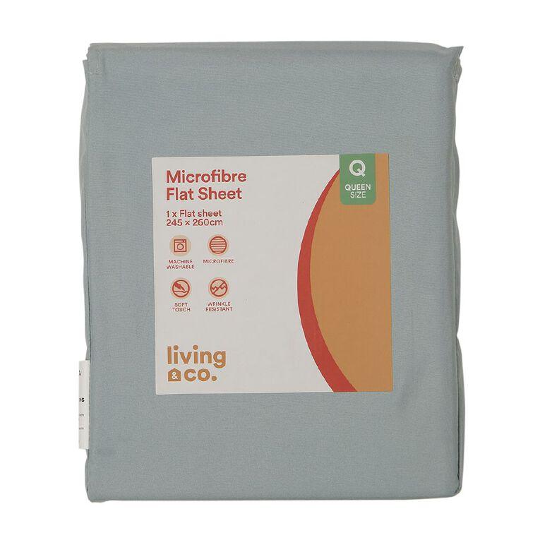 Living & Co Sheet Flat Microfibre Aqua Single, Aqua, hi-res