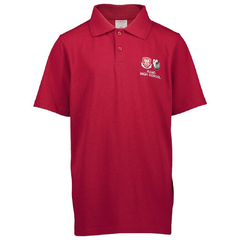 Schooltex Kamo High Short Sleeve Polo with Embroidery, Red, hi-res