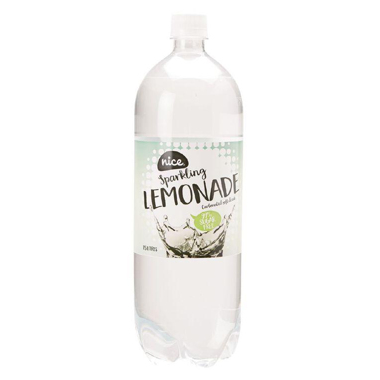 Nice 99% Sugar Free Lemonade Carbonated Beverage Drink 1.5L, , hi-res
