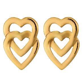 9ct Gold Double Heart Stud Earrings