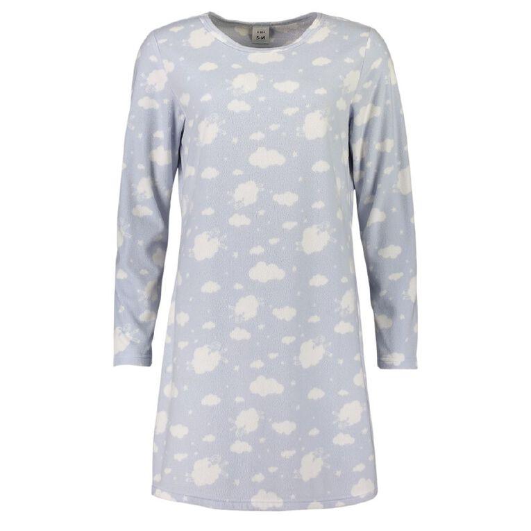 H&H Women's Fleece Ling Sleeves Nightie, Blue, hi-res
