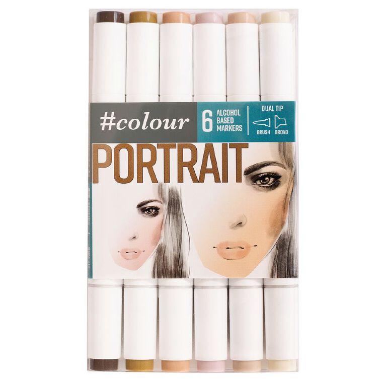 #colour Dual Ended Art Markers Portrait 6 Pack, , hi-res
