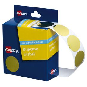 Avery Gold Dispenser Dot Stickers 24mm diameter 250 Labels