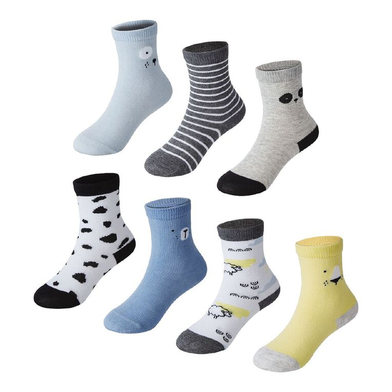 H&H Infant Boys' Jacquard Crew Socks 7 Pack, Blue Light, hi-res
