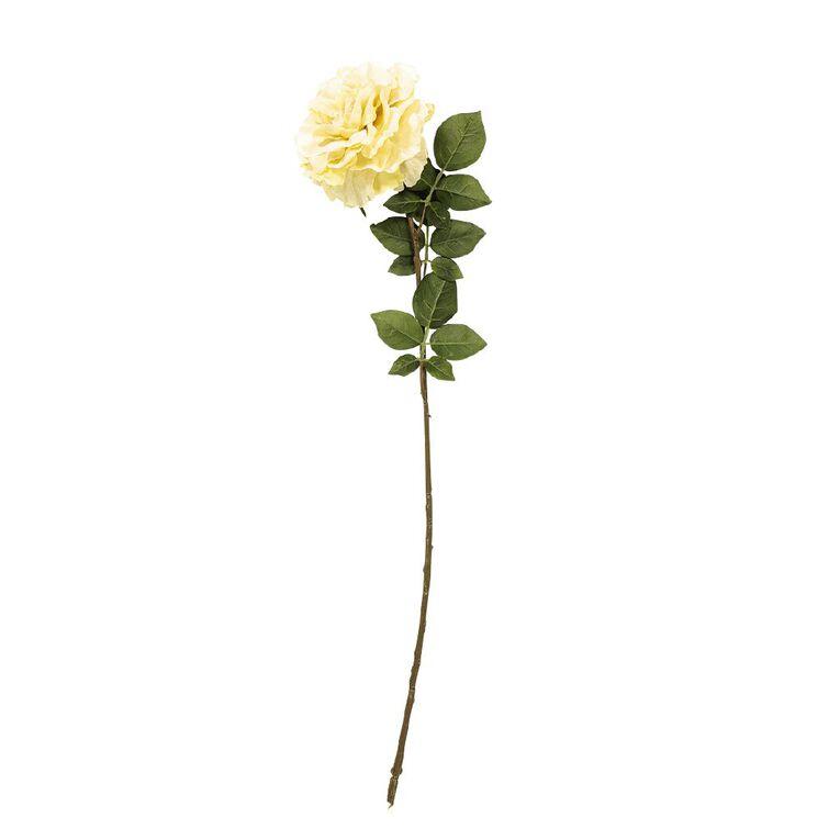 Living & Co Artificial English Rose Stem Ivory 71cm, , hi-res