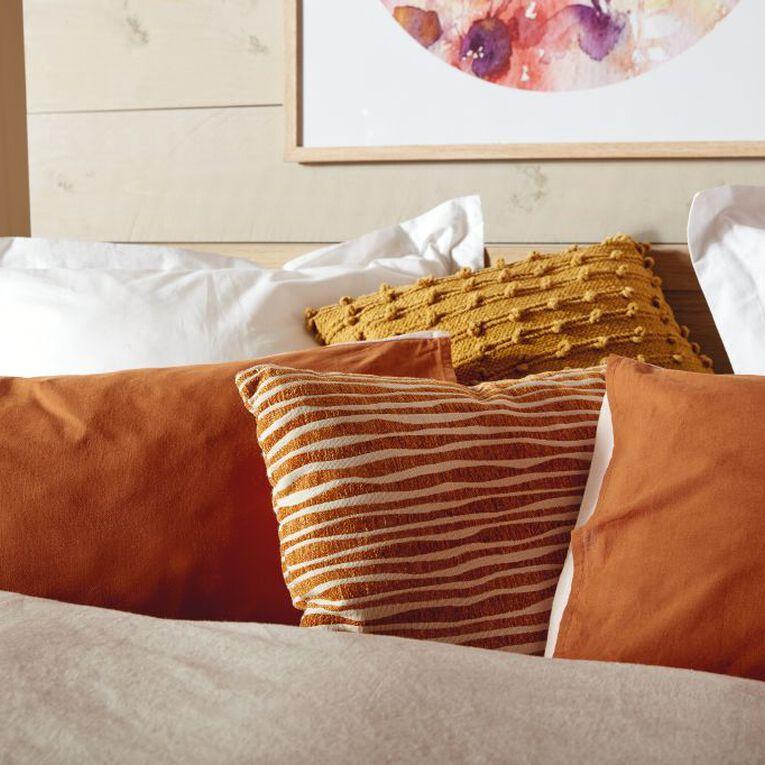 Living & Co Duvet Cover Set Luxury Linen Blend Pink/Rust Queen, Pink/Rust, hi-res