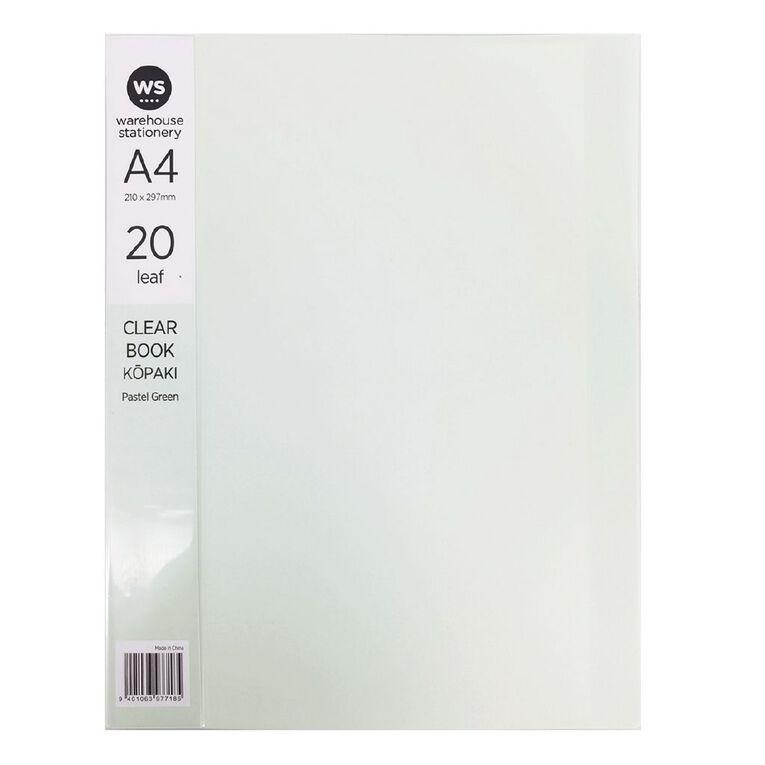 WS Clear Book 20 Leaf Pastel Green A4, , hi-res