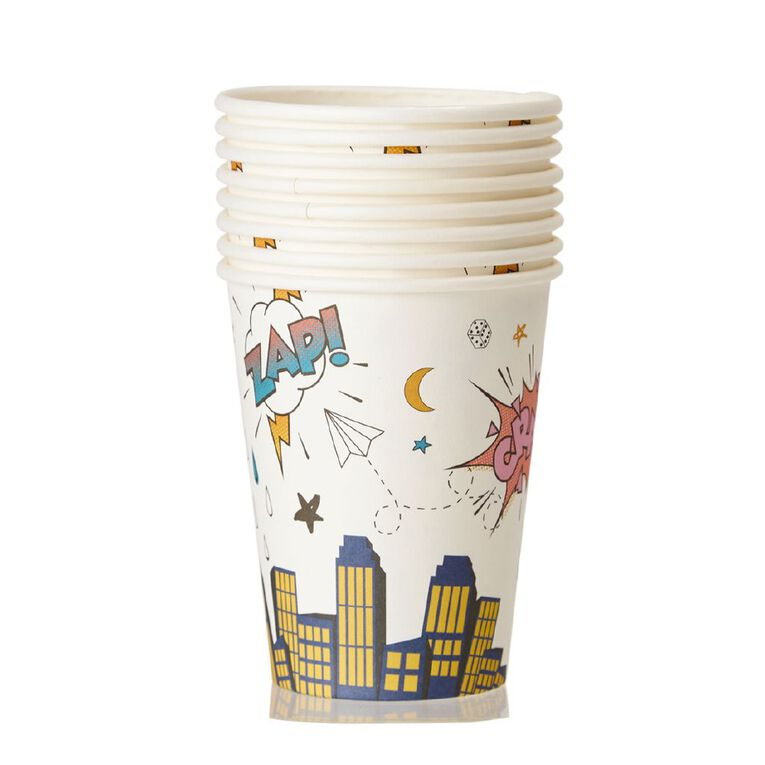 Party Inc Superhero Paper Cups 250ml 8 Pack, , hi-res