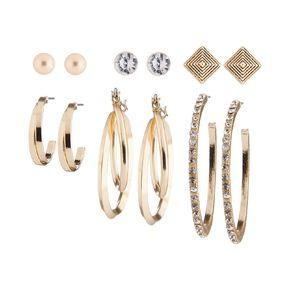 Basics Brand Diamante Square Hoop Gold Earrings 6 Pairs