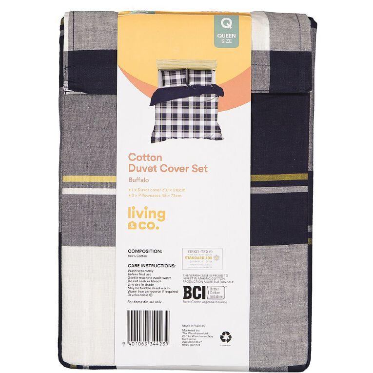 Living & Co Duvet Cover Set Cotton Buffalo Check Navy Queen, Navy, hi-res