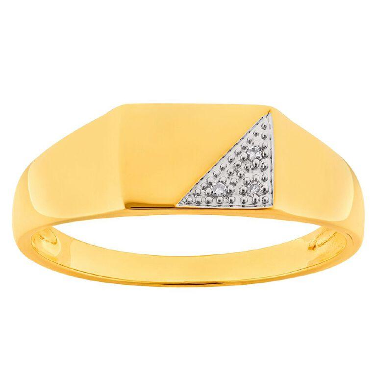 0.01 Carat Diamond 9ct Gold Gents Signet Ring, Yellow Gold, hi-res
