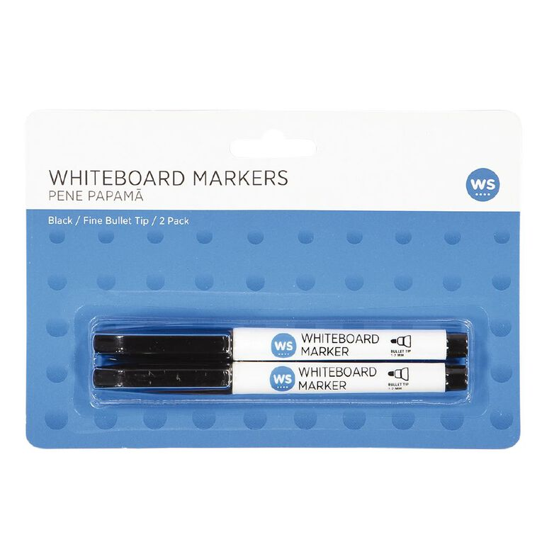 WS Whiteboard Markers Fine 2 Pack Black, , hi-res