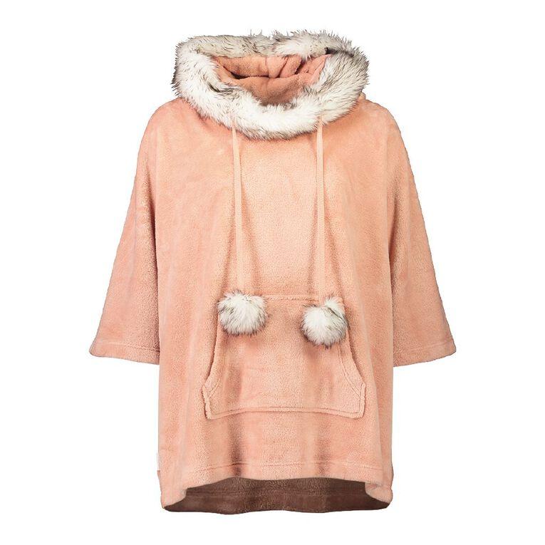 H&H Women's Velour Coral Fleece Poncho, Pink, hi-res