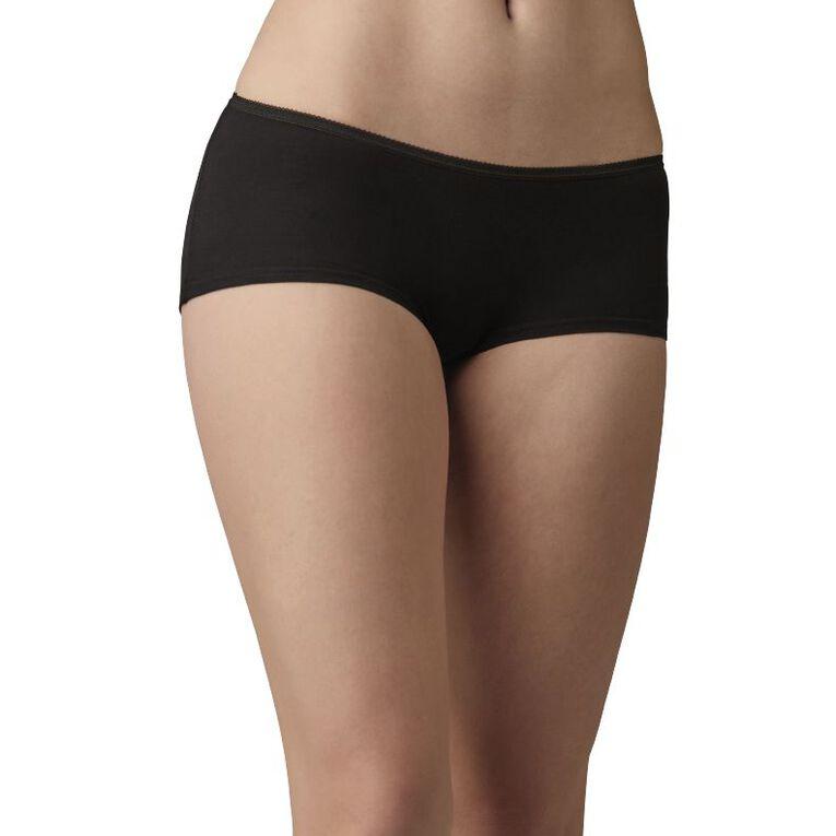 H&H Women's Shortie Briefs 5 Pack, Black, hi-res