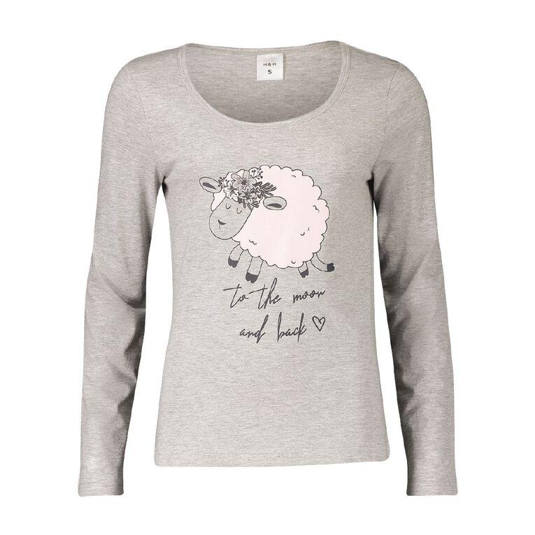 H&H Women's Long Sleeves Knit Sleep Tee, Grey, hi-res