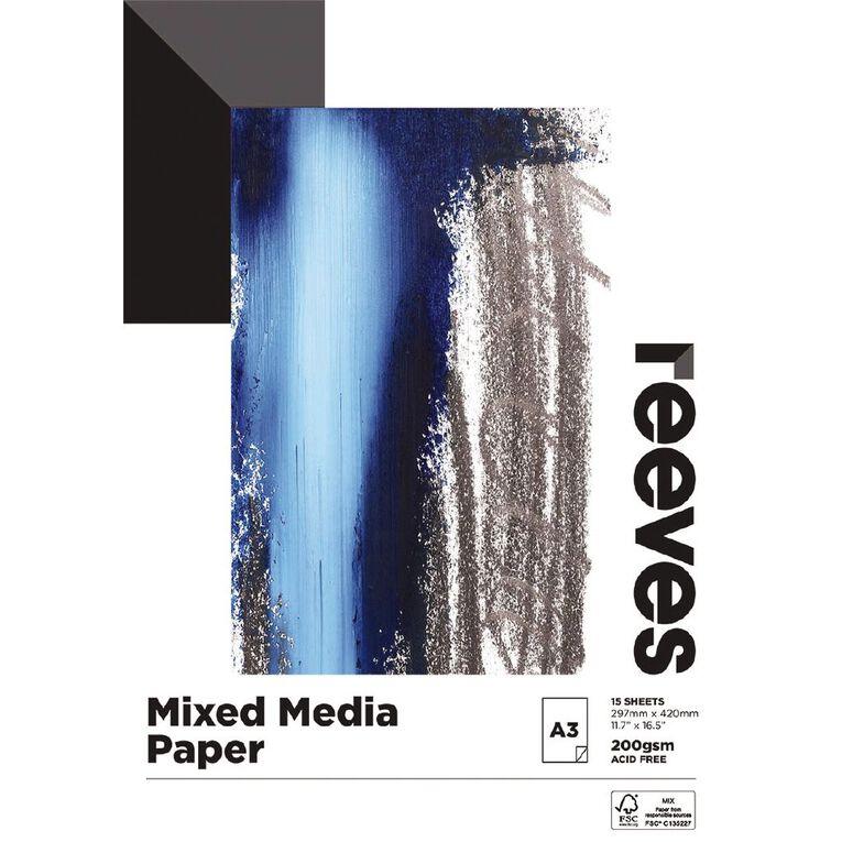 Reeves Mixed Media Pad 200gsm 15 Sheets A3, , hi-res