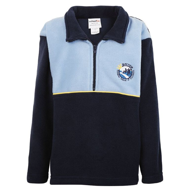 Schooltex Bayview School Polar Fleece Top with Embroidery, Navy/Sky, hi-res