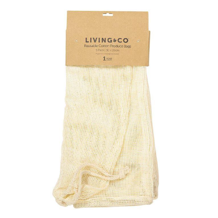 Living & Co Reusable Cotton Produce Bags Cream 5 Pack, , hi-res