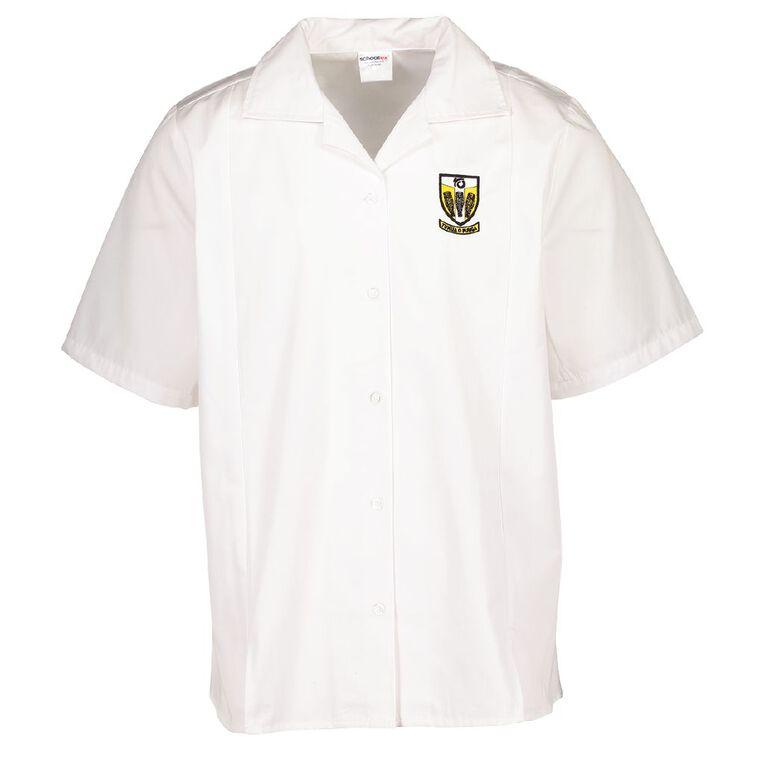 Schooltex Tikipunga High Short Sleeve Split Hem Blouse with Embroidery, White, hi-res