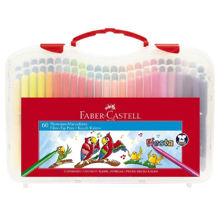 Faber-Castell Fiesta Fibre-tip Pens Plastic Case of 60, , hi-res