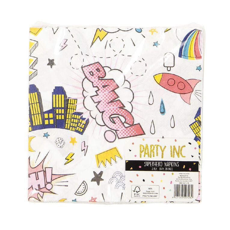 Party Inc Superhero Napkins 2 Ply 33cm x 33cm 20 Pack, , hi-res
