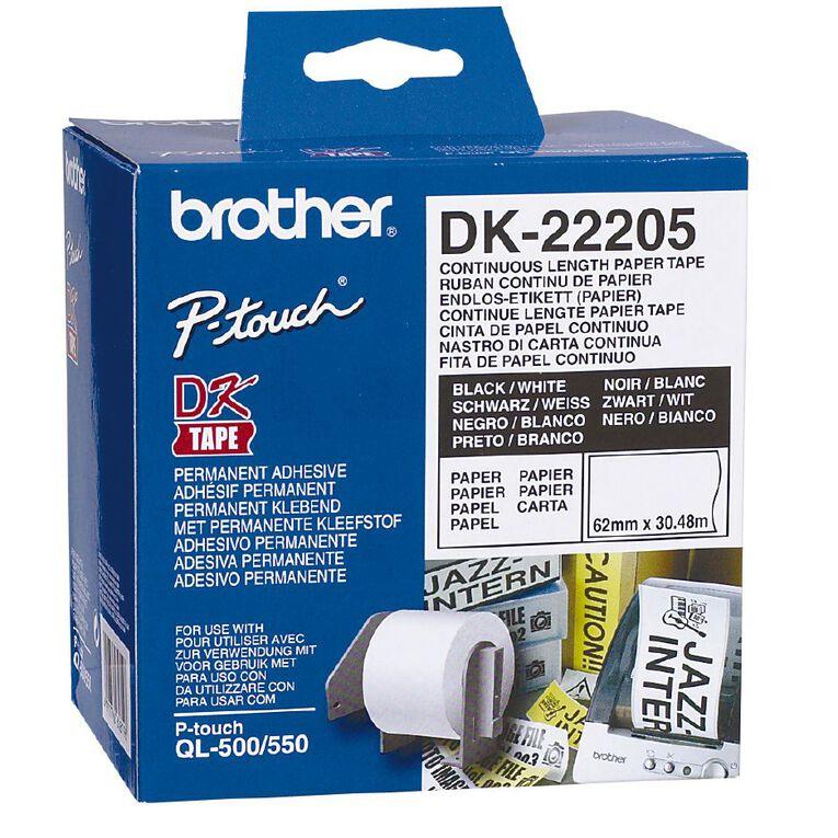 Brother Label Roll DK-22205 62mm x 30.48m Black on White, , hi-res