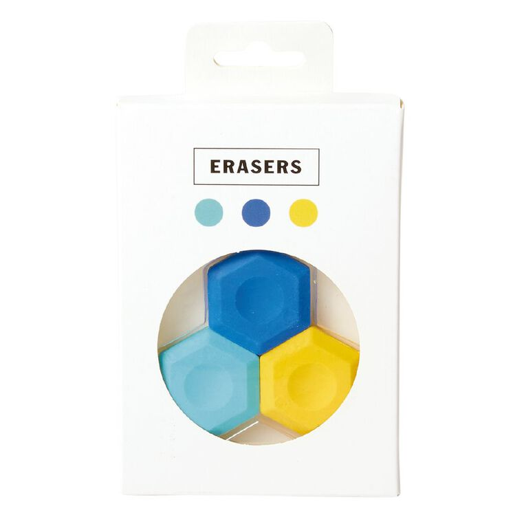 Uniti Back To School Erasers 3 Pack Multi-Coloured, , hi-res image number null
