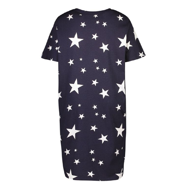 H&H Cosy Curvy Women's Short Sleeves Knit Nightie, Navy, hi-res